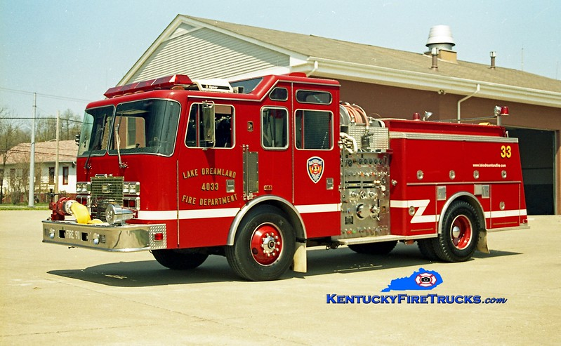 <center> NOW WITH PLEASURE RIDGE PARK <br> Lake Dreamland  Engine 4033 <br> 1994 KME Renegade 1500/750 <br> Kent Parrish photo </center>