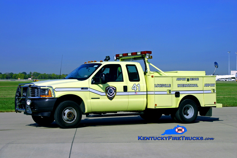 <center> RETIRED <BR> Louisville International Airport  Rescue 41 <br> 2000 Ford F-350 4x4/Stahl  Twin-Agent <br> Kent Parrish photo  </center>