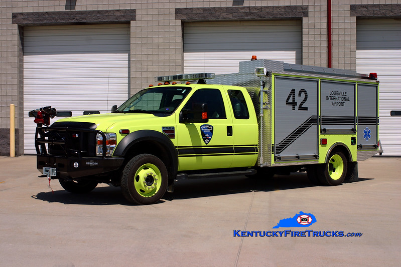 <center> Louisville International Airport Rescue 42 <br> 2009 Ford F-550 4x4/Oshkosh-Pierce Twin Agent <br> Kent Parrish photo </center>