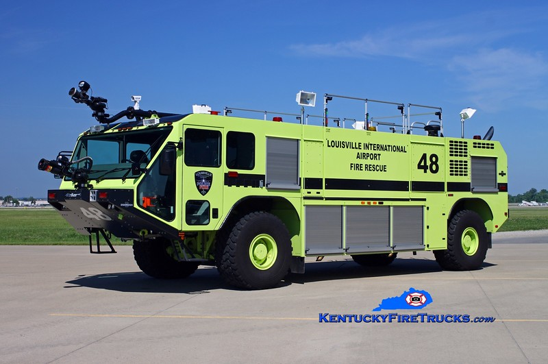 <center> Louisville International Airport  Rescue 48 <br> 2012 Oshkosh Stryker 1950/1500/210F/500DC <br> Kent Parrish photo </center>