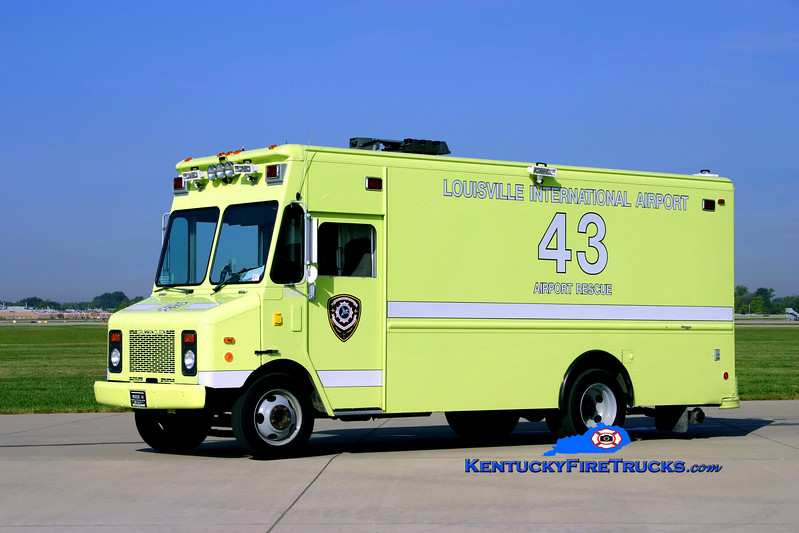 <center> Louisville International Airport  Rescue 43 <br> 1997 GMC/Grumman-Olson <br> Kent Parrish photo </center>