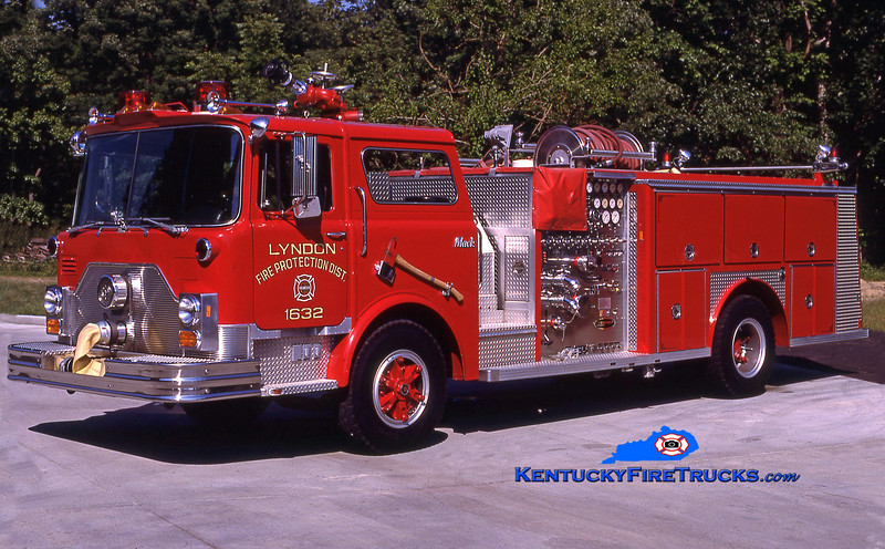 RETIRED<br /> Lyndon Engine 1632<br /> 1986 Mack CF/E-One 1500/500<br /> Kent Parrish collection