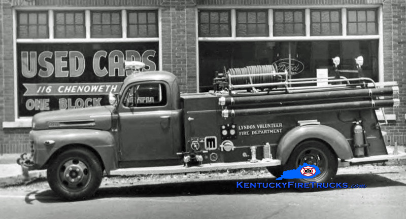 RETIRED<br /> Lyndon Engine 1<br /> 1950 Ford F6/Seagrave 500/500<br /> Kent Parrish collection