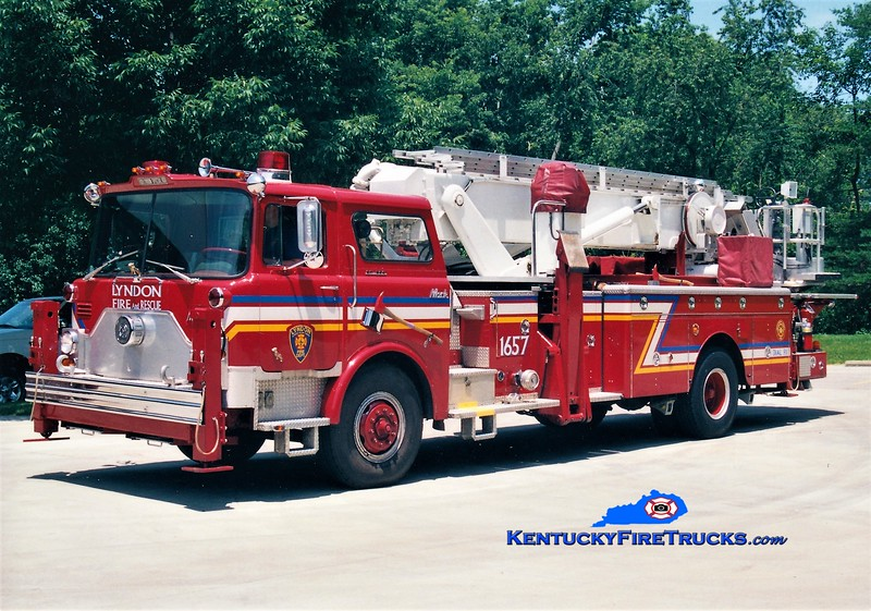 RETIRED <br /> Lyndon Truck 1657 <br /> 1974 Mack CF/Baker 75' Aerialscope <br /> Greg Stapleton photo