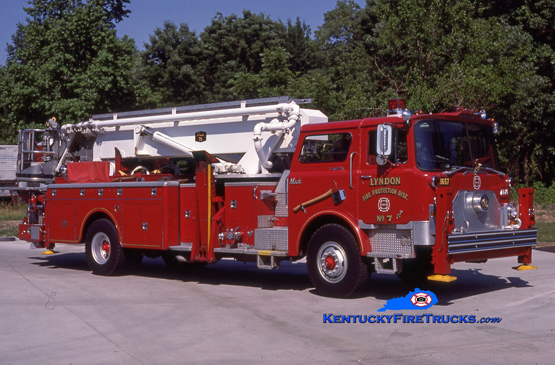 RETIRED <br /> Lyndon Truck 1657 <br /> 1974 Mack CF/Baker 75' Aerialscope <br /> Kent Parrish collection
