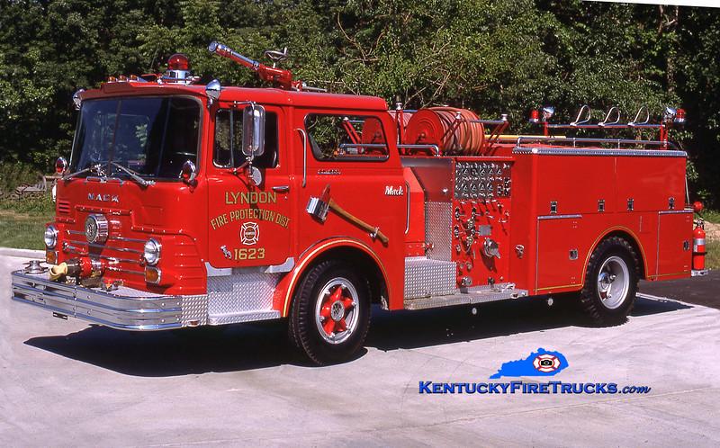 RETIRED<br /> Lyndon  Engine 1623<br /> 1968 Mack CF 1000/500<br /> Kent Parrish collection