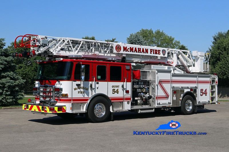 NOW WITH JEFFERSONTOWN <br /> McMahan  Quint 5554<br /> 2017 Pierce Enforcer Ascendant 2000/500/107' <br /> Kent Parrish photo