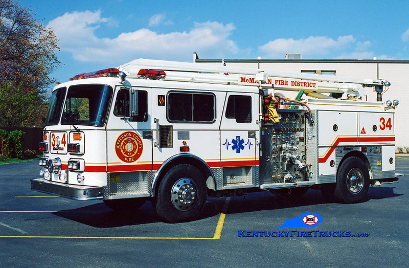 <center> RETIRED <br> McMahan Squrt 5534 <br> 1987 Seagrave HB 1500/500/54' Squrt <br> Kent Parrish photo <center>