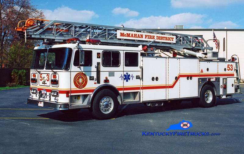 <center> RETIRED <br> McMahan Truck 5553 <br> 1994 Seagrave JR 100'  <br> Kent Parrish photo <center> </center></center>