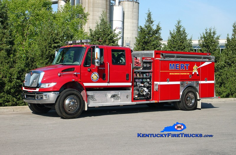 <center> Michelin-ASRC  Engine 1 <br> 2011 International 4400/2014 Ferrara 1500/1000/30 <br> Kent Parrish photo </center>
