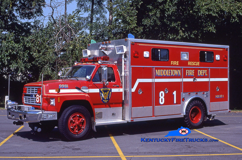 RETIRED<br /> Middletown Rescue 9981<br /> 1985 Ford F-700/EVF<br /> Kent Parrish collection