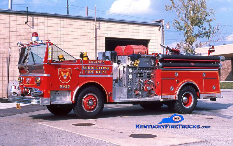 RETIRED<br /> Middletown Engine 9935<br /> 1977 Ward LaFrance Ambassador 1000/500<br /> Kent Parrish collection