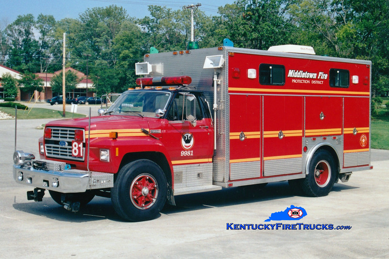 <center> RETIRED <br> Middletown  Rescue 9981 <br> 1985 Ford F-700/EVF  <br> Greg Stapleton photo </center>