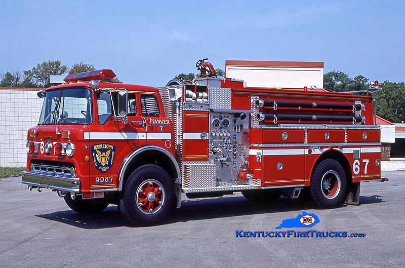 RETIRED<br /> Middletown Tanker 9967<br /> 1987 Ford C-8000/Grumman 475/1500/35<br /> Kent Parrish collection