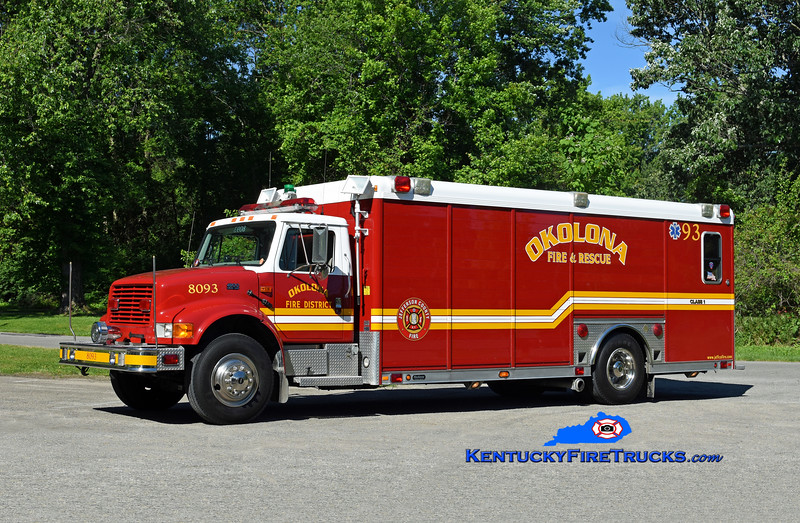Okolona Support 8093<br /> x-Edgewood, KY & 8084<br /> 1999 International 4900/Hackney<br /> Kent Parrish photo