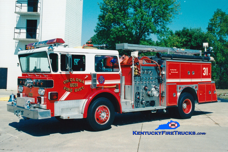 <center> RETIRED <br> Okolona Engine 8031 <br> 1977 American LaFrance Spartan One/1988 American Eagle 1250/750 <br> Greg Stapleton photo </center>