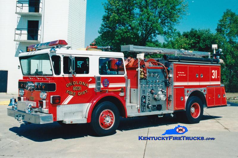 <center> RETIRED <br> Okolona Engine 8031 <br> 1977 American LaFrance Spartan One/1988 American Eagle 1250/750 <br> Greg Stapleton photo </center>