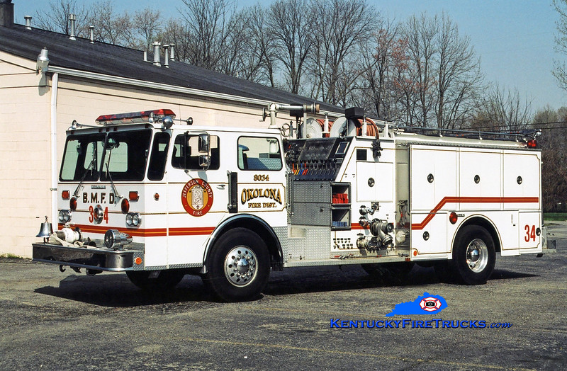 <center> RETIRED <br> Okolona Engine 8034 <br> x-Black Mudd Fire District, KY <br> 1982 Duplex D-250/Grumman-Oren 1500/750 <br> Kent Parrish photo </center>