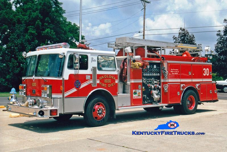 <center> RETIRED <br> Okolona Engine 8030 <br> 1978 Ward LaFrance/1986 Pemfab/1986 American Eagle 1250/500 <br> Greg Stapleton photo </center>