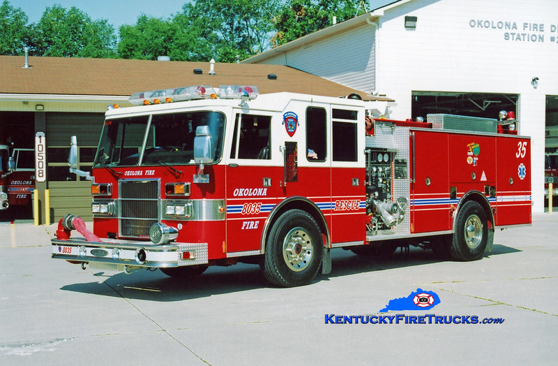 <center> RETIRED <br> Okolona Engine 8035 <br> 1994 Pierce Dash 1250/750 <br> Kent Parrish photo </center>