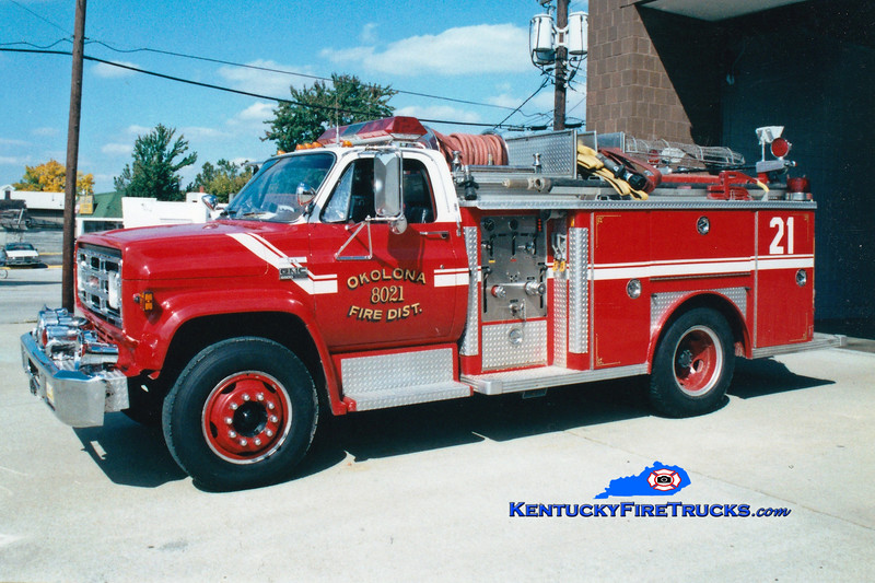 <center> RETIRED <br> Okolona Engine 8021 <br> 1978 GMC 6500/E-One 250/500 <br> Greg Stapleton photo </center>