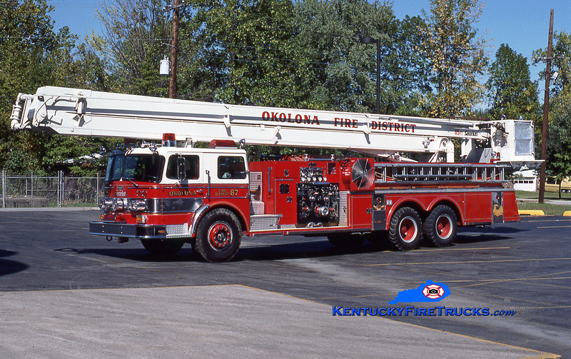 RETIRED <br /> Okolona Snorkel 8057<br /> 1972 Oshkosh/Pierce 1000/200/85' <br /> Kent Parrish collection