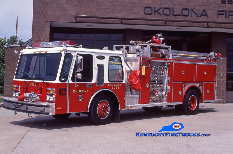 RETIRED<br /> Okolona  Engine 8033<br /> 1984 E-One Hurricane 1500/750<br /> Kent Parrish collection
