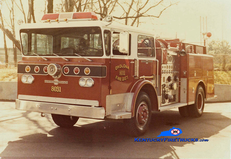 "Okolona Engine 8031<br /> 1977 American LaFrance Pioneer III ""Spartan One"" 1250/750<br /> Kent Parrish collection"