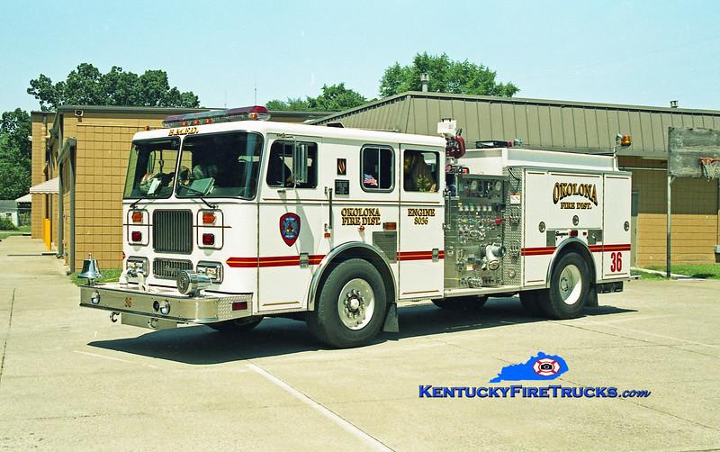 <center> RETIRED <br> Okolona Engine 8036 <br> x-Black Mudd Fire District, KY <br> 1998 Seagrave Marauder 1500/750 <br> Kent Parrish photo </center>