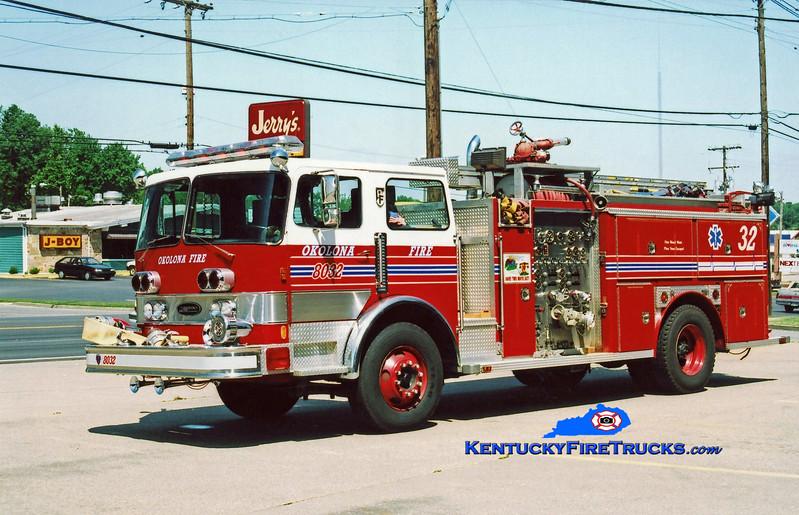 <center> RETIRED <br> Okolona Engine 8032 <br> 1981 Pemfab/E-One 1500/750 <br> Kent Parrish photo </center>