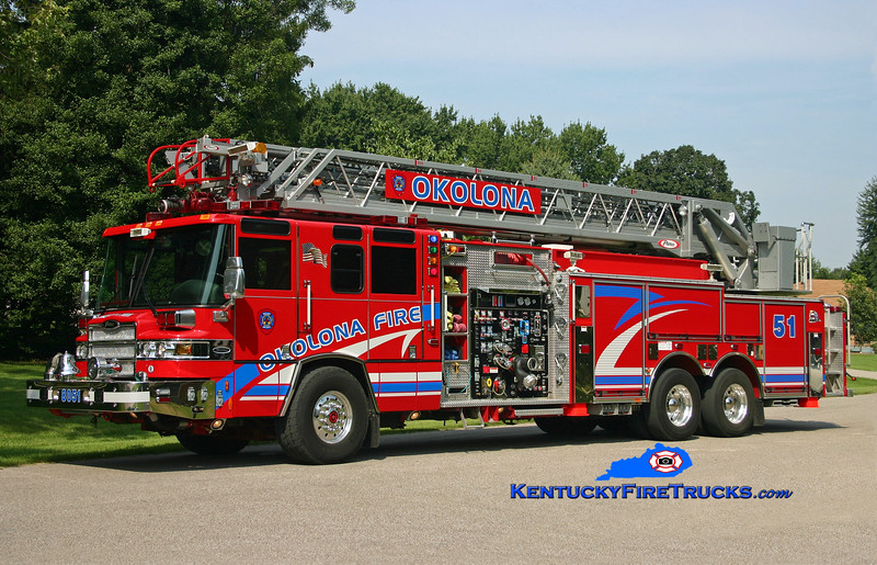 <center> Okolona  Quint 8051 <br> 2005 Pierce Quantum 2000/470/30/CAFS/105' <br> Kent Parrish photo </center>