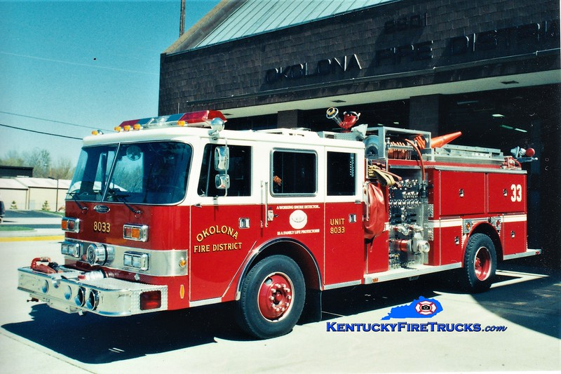 RETIRED<br /> Okolona  Engine 8033<br /> 1984 E-One/1989 Pierce Arrow 1500/750<br /> Greg Stapleton photo