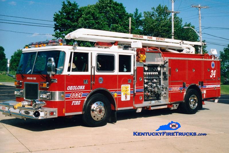 <center> Okolona  Squrt 8031 <br> *As Squrt 8034 <br> 1991/1996 Pierce Arrow 1500/750/54' Squrt <br> Kent Parrish photo </center>