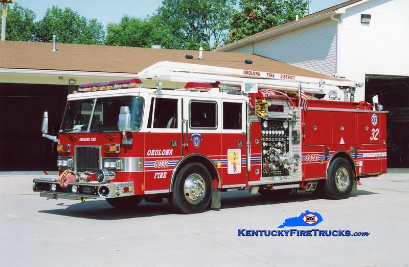<center> RETIRED <br> Okolona  Squrt 8032 <br> x-Squrt 8034 <br> 1991/1996 Pierce Arrow 1500/750/54' Squrt <br> Kent Parrish photo </center>