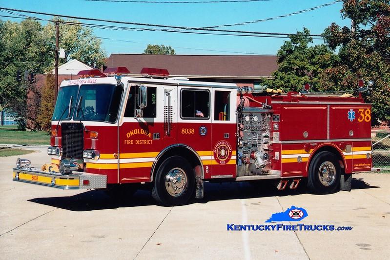 <center> RETIRED <br> Okolona  Engine 8038 <br> x-Edgewood Fire District, KY <br> 1987 Duplex D-500/Grumman/1999 RPI 1250/1000 <br> Greg Stapleton photo </center>