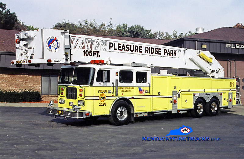 RETIRED <br /> Pleasure Ridge Park  Truck 2251<br /> x-Truck 2215 <br /> 1998 Seagrave Commander 250/300/105' <br /> Kent Parrish photo