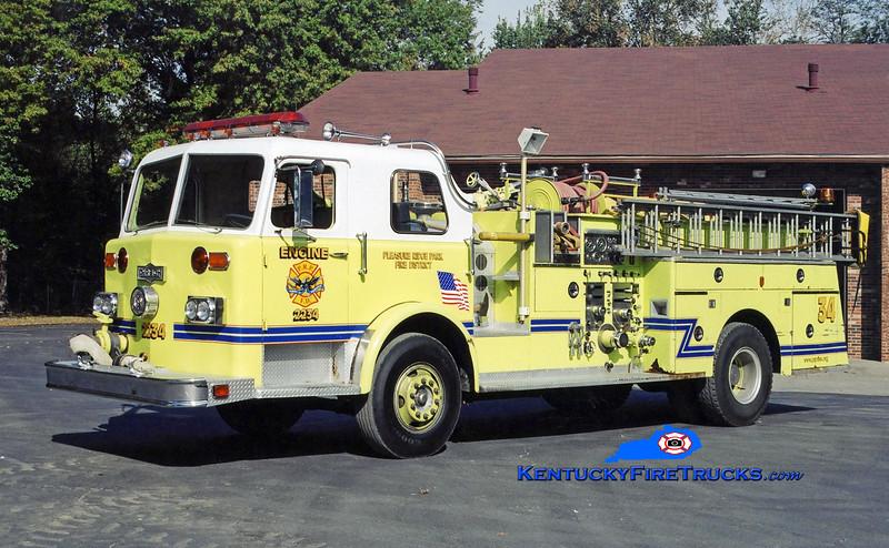 RETIRED <br /> Pleasure Ridge Park Engine 2234<br /> x-South Dixie, KY<br /> 1976 Pirsch 1000/500<br /> Kent Parrish photo