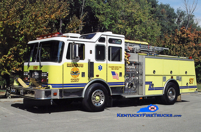 RETIRED<br /> Pleasure Ridge Park  Rescue 2287<br /> x-South Dixie, KY<br /> 1993 KME Renegade 1500/750<br /> Kent Parrish photo