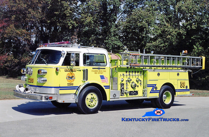 RETIRED<br /> Pleasure Ridge Park Engine 2238<br /> x-South Dixie, KY<br /> 1982 American LaFrance Century 1500/750<br /> Kent Parrish photo
