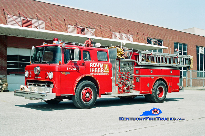 <center> Rohm & Haas  Engine 10  <br> 1982 Ford C-8000/Grumman 1250/300/300F <br> Kent Parrish photo </center>