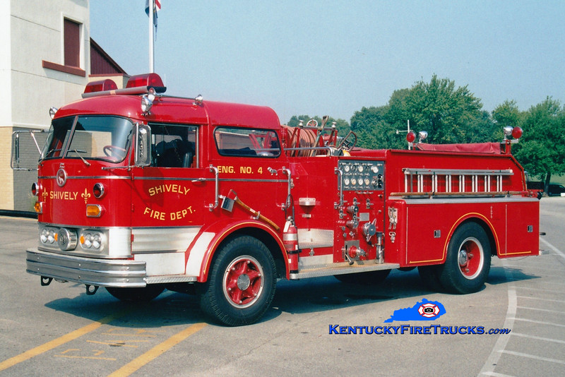 <center> RETIRED <br> Shively  Engine 4 <br> 1967 Mack C 1000/500 <br> Greg Stapleton photo  </center>