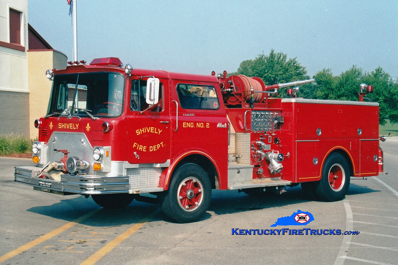 <center> RETIRED <br> Shively  Engine 2 <br> 1974 Mack CF 1000/500 <br> Greg Stapleton photo  </center>
