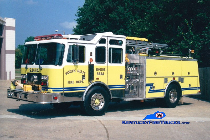 <center> RETIRED <br> South Dixie  Engine 3534 <br> 1993 KME Renegade 1500/750 <br> Greg Stapleton photo </center>