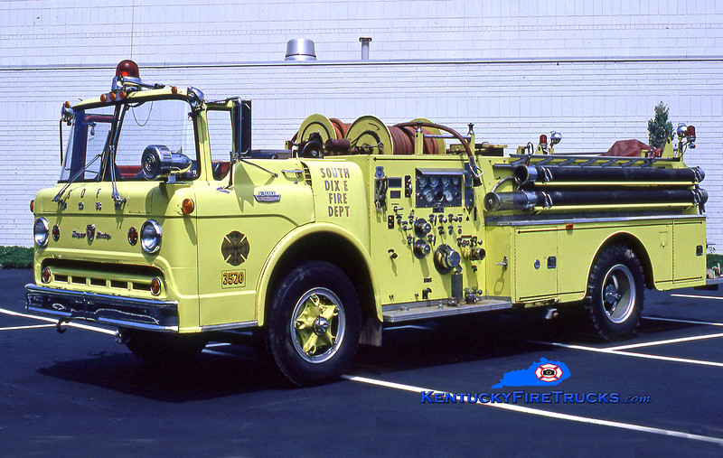 RETIRED<br /> South Dixie Engine 3520<br /> 1964 Ford C-800/Howe 1000/500<br /> Kent Parrish collection