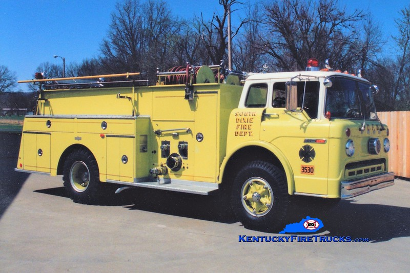 RETIRED<br /> South DIxie Engine 3530<br /> 1973 Ford C/Pirsch 1000/750<br /> Greg Stapleton photo
