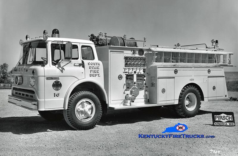 RETIRED<br /> South DIxie Engine 16<br /> 1973 Ford C/Pirsch 1000/750<br /> Kent Parrish collection