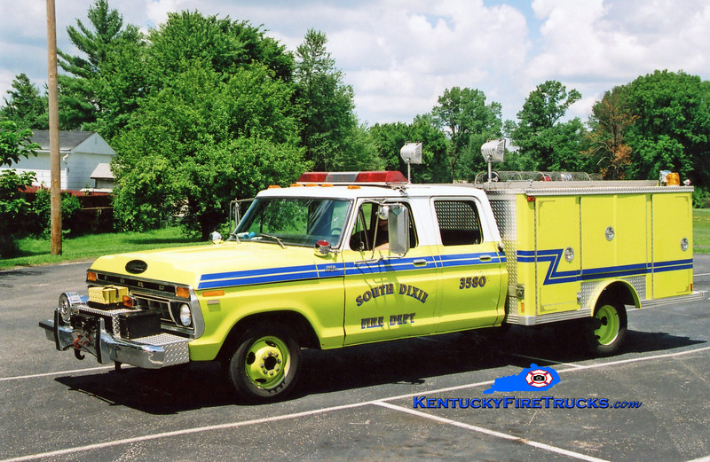 <center> RETIRED <br> South Dixie  Rescue 3580 <br> 1977 Ford F-350/E-One  <br> Greg Stapleton photo </center>