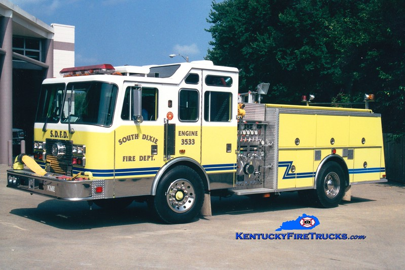 <center> RETIRED <br> South Dixie  Engine 3533 <br> 1993 KME Renegade 1500/750 <br> Greg Stapleton photo </center>