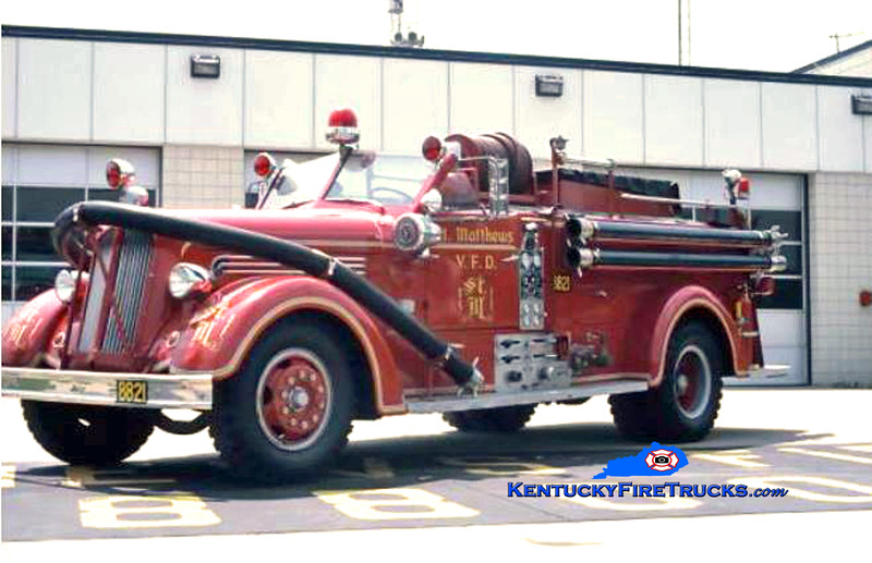 RETIRED<br /> St. Matthews Engine 8821<br /> x-Jefferson County FD, KY <br /> 1947 Seagrave Sentry 750/500 <br /> Kent Parrish collecction