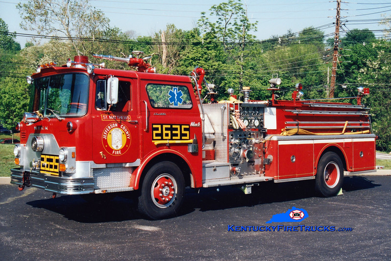 <center> RETIRED  <br> St. Matthews  Engine 2635 <br> 1976 Mack CF 1500/500  <br> Greg Stapleton photo <br> </center>
